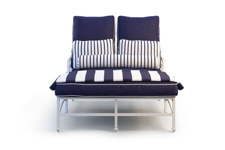 Double chaise with white metal base. Outdoor bed with pillows and plaid. Double chaise on white background with shadows. 3d render