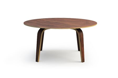 Modern round wooden coffee table with wooden legs on white background with shadows. 3d render.