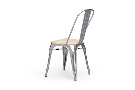 Metal chair with wooden seat on white background with shadows. Loft chair, light wood. 3d render Stok Fotoğraf