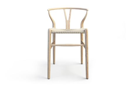 Modern light wood stool with wicker seat on white background with shadows. 3d render