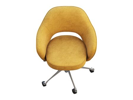 Orange fabric task armchair with chromium base on white background. Mid-century modern office chair. 3d render