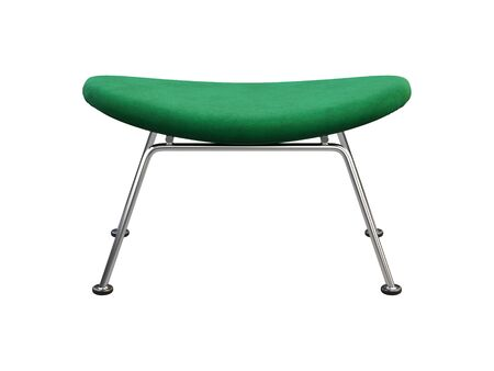 Mid-century green fabric chair with chromium legs. Fabric upholstery footrest on white background. Mid-century, Loft, Scandinavian interior. 3d render