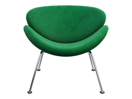 Mid-century green fabric chair with chromium legs. Fabric upholstery chair on white background. Mid-century, Loft, Scandinavian interior. 3d render