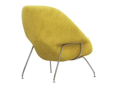 Mid-century yellow fabric chair with chromium legs. Fabric upholstery chair on white background. Mid-century, Loft, Scandinavian interior. 3d render