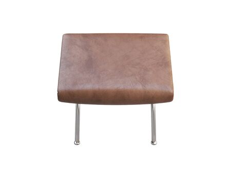 Mid-century brown leather footrest with chromium legs. Fabric upholstery ottoman on white background. Mid-century, Loft, Scandinavian interior. 3d render