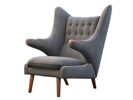 Mid-century gray fabric wing chair. Fabric upholstery armchair with wooden legs on white background. Mid-century, Loft, Scandinavian interior. 3d render