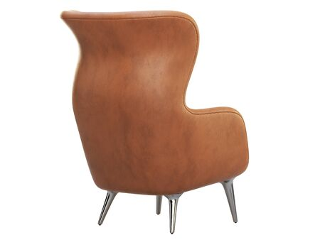Mid-century brown leather wing chair. Leather upholstery armchair with metal legs on white background. Mid-century, Loft, Scandinavian interior. 3d render