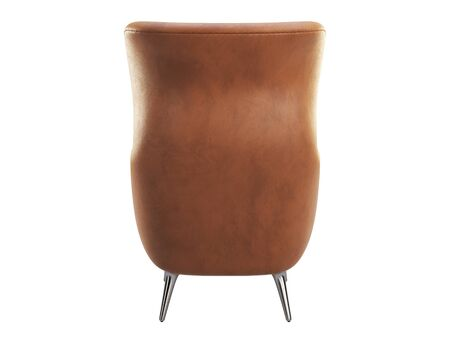 Mid-century brown leather wing chair. Leather upholstery armchair with metal legs on white background. Mid-century, Loft, Scandinavian interior. 3d render 版權商用圖片