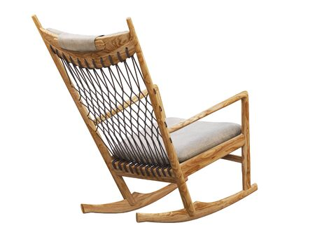 Wooden rocking chair with textile seat and headrest on white background. Wicker back from rope. 3d render