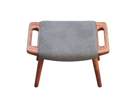 Mid-century gray fabric footrest with wooden legs. Fabric upholstery ottoman on white background. Mid-century, Loft, Scandinavian interior. 3d render