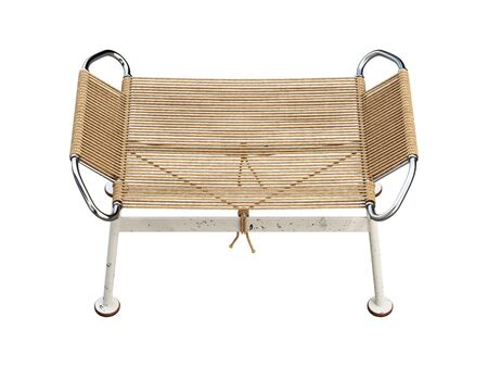 Mid-century braided rope ottoman with metal legs. Brown rope footrest on white background. Mid-century, Loft, Scandinavian interior. 3d render