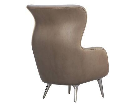 Mid-century gray leather wing chair. Leather upholstery armchair with metal legs on white background. Mid-century, Loft, Scandinavian interior. 3d render