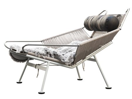 Mid-century braided rope lounge chair with white pelt. Black leather upholstery headrest. Light gray armchair on white background. Mid-century, Loft, Scandinavian interior. 3d render Stock Photo