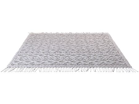 Scandinavian wool dot carpet. Rug with cotton base and wool dots on white background. 3d render