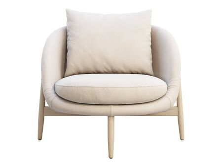 Light beige leather chair with pillow on white background. Modern wooden legs chair. 3d render Stock Photo