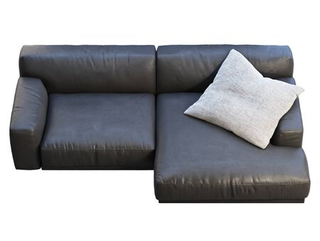 Modern chaise lounge sofa. Black leather sofa with gray fabric pillow on white background. Mid-century, Modern, Loft, Chalet, Scandinavian interior. 3d render 写真素材