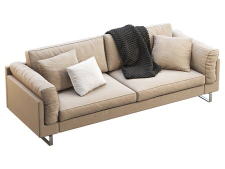 Modern beige fabric sofa. Textile upholstery sofa with pillows and black throw plaid on white background. Mid-century, Modern, Loft, Chalet, Scandinavian interior. 3d render Banque d'images