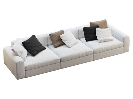 Modern white fabric sofa. Textile upholstery sofa with colored pillows on white background. Mid-century, Modern, Loft, Chalet, Scandinavian interior. 3d render