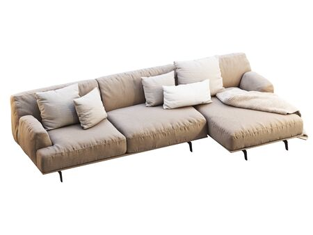 Modern beige fabric sofa. Textile upholstery chaise lounge sofa with pillows and throw on white background. Mid-century, Modern, Loft, Chalet, Scandinavian interior. 3d render
