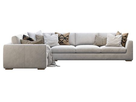 Chalet modular coner leather sofa. Leather upholstery corner sofa with pillows and plaid on white background. Mid-century, Loft, Chalet, Scandinavian interior. 3d render