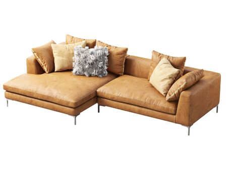 Modern chaise lounge leather sofa. Brown isolated leather sofa with pillows on white background. Mid-century, Modern, Loft, Chalet, Scandinavian interior. 3d render