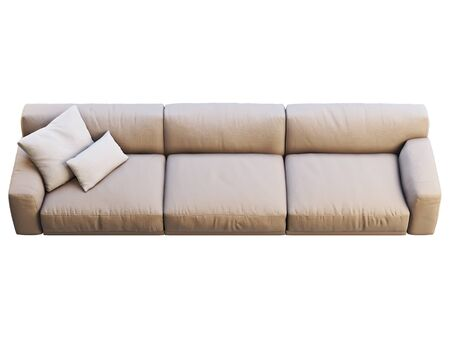 Modern beige fabric sofa. Textile upholstery sofa with pillows on white background. Mid-century, Modern, Loft, Chalet, Scandinavian interior. 3d render