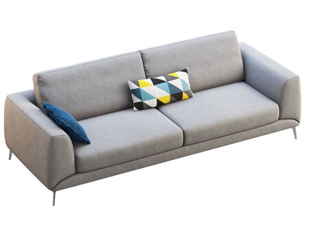 Modern light gray fabric upholstery sofa with pillows on white background. Mid-century, Modern, Loft, Chalet, Scandinavian interior. 3d render Stock fotó