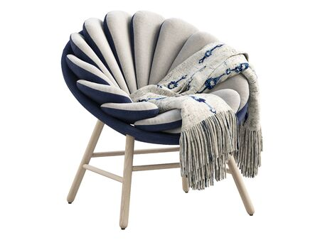 Modern light gray fabric chair with dark blue base and wooden legs. Fabric upholstery round chair with plaid on white background. Mid-century, Loft, Scandinavian interior. 3d render