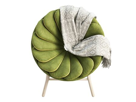 Modern green fabric chair with dark blue base and wooden legs. Fabric upholstery round chair with plaid on white background. Mid-century, Loft, Scandinavian interior. 3d render Stock fotó