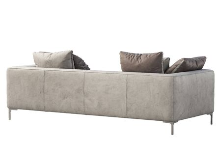 Modern leather sofa. Light gray Isolated leather sofa with pillows and throw plaid on white background. Mid-century, Modern, Loft, Chalet, Scandinavian interior. 3d render Stock fotó