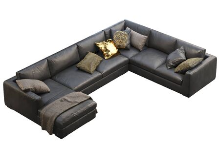 Chalet modular coner leather sofa with chaise lounge. Leather upholstery corner sofa with pillows and plaid on white background. Mid-century, Loft, Chalet, Scandinavian interior. 3d render