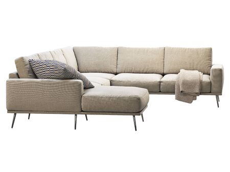 Modern beige fabric chaise lounge corner sofa with pillows and plaid. Fabric upholstery sofa with metal legs on white background. Mid-century, Modern, Loft, Chalet, Scandinavian interior. 3d render