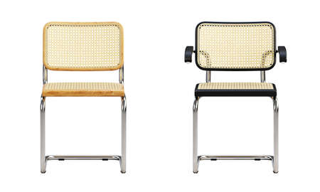 Mid-century wooden armchair with woven cane backrest and seat on white background. Chromium base chair. Mid-century, Loft, Scandinavian interior. 3d render
