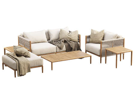 Modern outdoor furniture set with decor on white background. Outdoor wooden loveseat sofa and lounge chair with wicker back and armrest. Modern wooden legs ottoman and coffee tables. 3d render