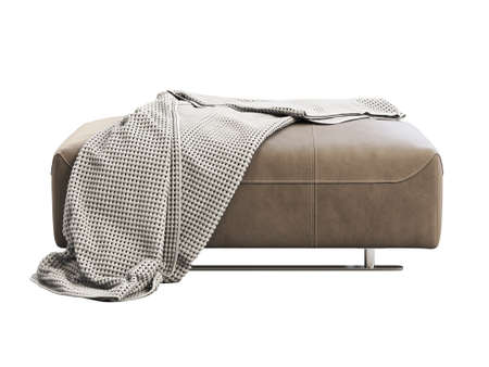 Modern brown leather ottoman with plaid. Leather upholstery footrest with knitted blanket on white background. Modern, Loft, Scandinavian interior. 3d render