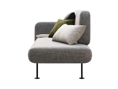 Modern gray fabric modular sofa with pillows and book. Textile upholstery sofa with decor on white background. Modern, Loft, Scandinavian interior. 3d render