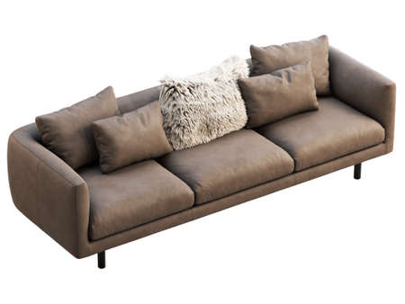 Modern brown leather sofa with fur pillow. Leather upholstery sofa with pillows on white background. Modern, Loft, Scandinavian interior. 3d render