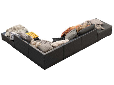 Chalet corner wicker modular sofa with chaise lounge. Outdoor corner sofa with pillows, blankets and pelts on white background. Mid-century, Chalet, Scandinavian, Bohemian style. 3d render