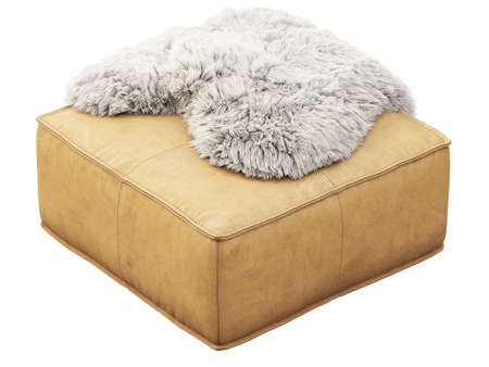 Beige leather mid-century ottoman with pelt on white background. Modern, Loft, Scandinavian interior. 3d render