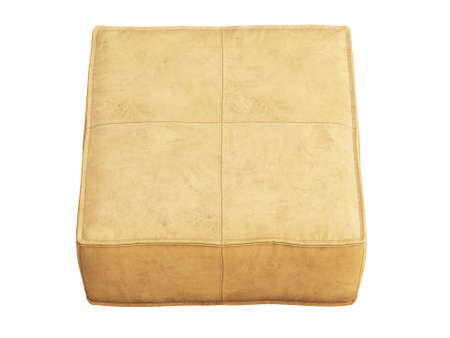 Beige leather mid-century ottoman on white background. Modern, Loft, Scandinavian interior. 3d render