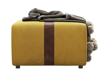 Yellow fabric ottoman with brown leather inserts on white background. Textile upholstery footrest with throw plaid. Blanket with braids and fur pompoms. Modern, Loft, Scandinavian interior. 3d render