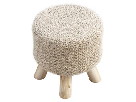 Scandinavian pouf with a knitted seat and wooden legs on white background. Handwoven wool top stool. Mid-century, Loft, Chalet, Scandinavian interior. 3d render