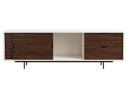 Wooden cabinet with retractable shelves. Wooden chest of drawers with wooden doors on the legs. Close position. Sideboard on white background. Mid-century, Loft, Chalet, Scandinavian interior. 3d render