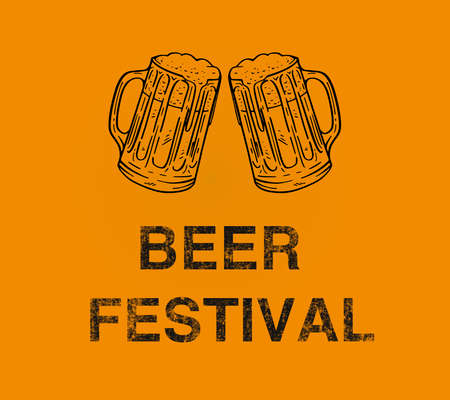 beer festival illustration with beer mug grunge text on yellow backbround