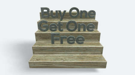 3D Buy One Get One Free Text on stair on White Background 版權商用圖片