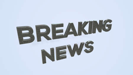 3D illustration of a breaking news TV screen on white background
