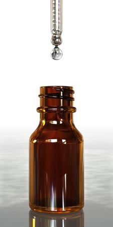 eyedropper: Droplet forming below eyedropper above medicine bottle
