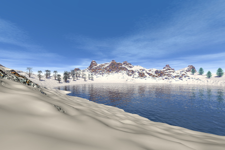 image size: Snowy mountain, a winter landscape,  trees near the water and a blue sky. Stock Photo