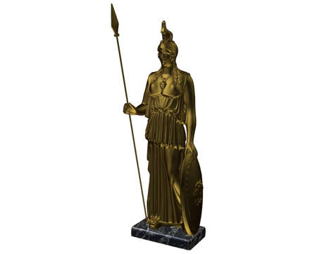3d Render, Athena Statue, white background. photo