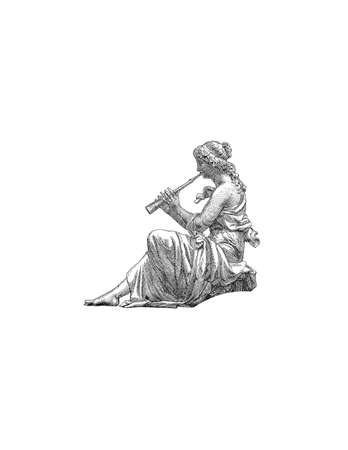 antic: Antic girl with Flute,  image. Illustration
